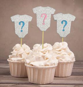 Darling Souvenir Gender Reveal Glitter Cupcake Toppers Boy Or Girl-dPh