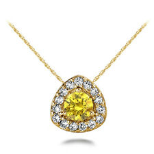 "1.00 Ct Yellow Diamond Fancy Solitaire Halo Pendant 14K Yellow Gold 18"" Chain"