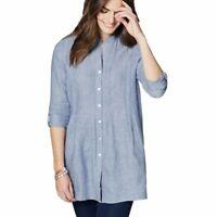 NWT J. Jill Ballet Sleeve Tunic Blue Button Front Linen Top Size Small