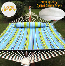 Heavy Duty 2 Person Quilted Fabric Double Hammock With Pillow Spreader Bar Swing
