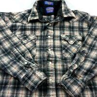 Pendleton Boys Large Mens Small Shadow Plaid Pearl Snap Gray Shirt Vintage