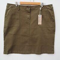 BNWT Marks & Spencer M&S Khaki Green Knee Length Stretch Denim Skirt size UK 22