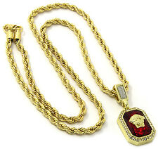 "Mens 14k Gold Plated Red Ruby Medusa Face Pendant Hip Hop 24"" Rope Chain D416"