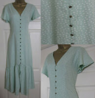NEW M&S Marks & Spencer Ladies Mint Green Tea Midi Dress Spotty Summer  6-22