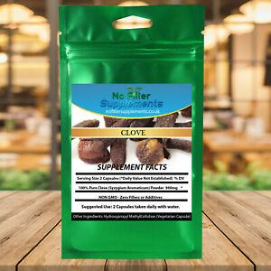 100% Pure Clove Vegetable Capsules (Syzygium aromaticum) No Fillers NON-GMO
