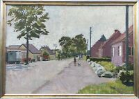 Oil Painting Jacob Madsen 1887-1965 Village Street With People Denmark