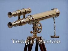 """Marine Nautical Navy Brass Double Barrel~Telescope 18"""" With Wooden Tripod Stand"""