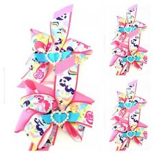 Handmade Girls My Little Pony  Hair Bow Clips sold in Pairs On Croc Clips