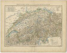 Antique Map of Switzerland and Liechtenstein by Petri (c.1873)