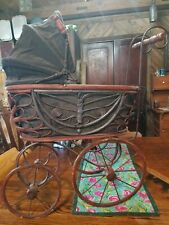 Antique Baby Doll Stroller Vintage Wooden Carriage Buggy Pre-owned