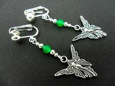 Bead Dangly Fairy/Angel Clip On Earrings. A Pair Tibetan Silver & Green Jade
