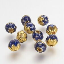 10 pcs 9mm Golden Blue Lotus Enamel Style Round Alloy Beads For Craft Hole 2mm