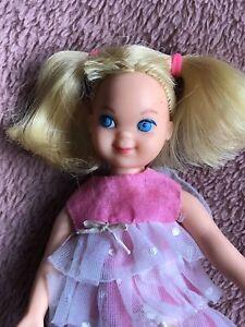 Vintage Mattel Barbie 1965 Tutti Melody in Pink Doll Hot Pink Dress Rare!