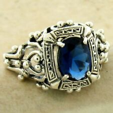 VICTORIAN ANTIQUE STYLE 925 SILVER ROYAL BLUE SIM SAPPHIRE RING SIZE 7,    #1127