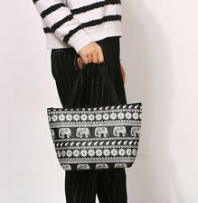 Black & White Handy Light weight Elephant Design Tote Thermal Lunch Bag