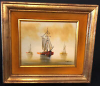 Inherited Vintage 14x15 Oil Painting - 3 Boats - Signed by Marini