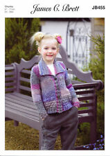 Chunky Knitting Pattern Girls Long Sleeve Collared Cardigan James Brett JB455