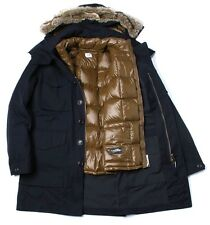 CP Company Two-Layered Fur Hooded Parka Jacket In Navy BNWT