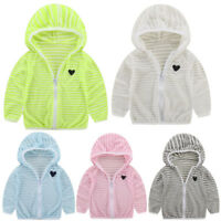 Baby Boy Girls Long Sleeve Zipper Hooded Jacket Waterproof Sunscreen Clothes AB