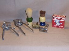 Lot 2 Shaving brushes safety razers Colgate Shaving Mug Soap barber collectible