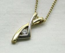 Pretty Two Colour 9 Carat Gold And Cubic Zirconia Set Pendant And Chain