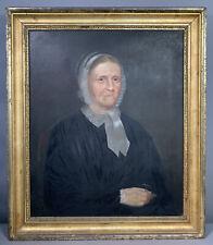 19thC Antique PRIMITIVE Old LADY PORTRAIT Bonnet & Spectacles Oil PAINTING Frame