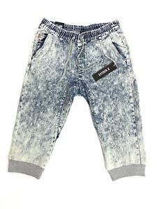 Mens Super Faded Denim Acid Washed Stretch Capris Joggers Jeans Elastic Shorts