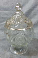 Antique EAPG Flint Glass New England Pineapple Covered Sugar Bowl