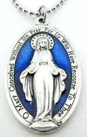 Large Miraculous Medal Necklace Royal Blue,Silver Pendant,Italy,No Tarnish Chain
