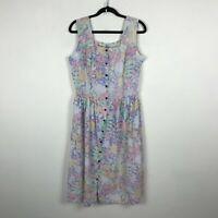 Vintage 1980s Floral Dress Size M L  Button Up Pastel Sleeveless Cotton Womens