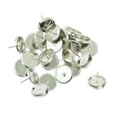 24pcs 12mm Round Tray Stud Earrings Post Bezel Blank Findings Cabochon Setting