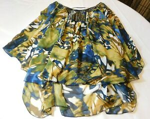 One World Live and Let Live Women's Misses Sheer Short Sleeve Shirt L large NWT