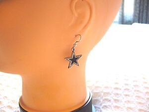 DALLAS COWBOYS EARRINGS NFL FOOTBALL WOMEN'S OR MEN'S HANGING STAR ~~CLOSE-OUT