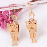 Gold Circle Animal Cat Pendant Earrings Pearl Drop Dangle Earrings 'Jewelry XC