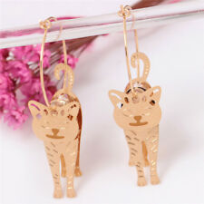 Gold Circle Animal Cat Pendant Earrings Pearl Hook Drop Dangle Earrings Jewelry