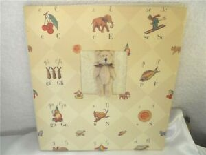 Nina M Alphabet Paper Covered Scrap Book 44 White Pages with Stuffed Bear Accent