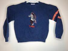 Vintage Nutmeg Mills Illinois Blue Sweat Shirt Youth Medium Chief illiniwek