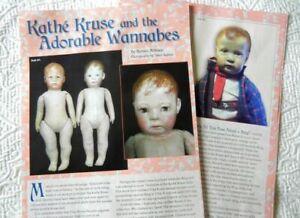 7p History Article & Pics -  Antique Cloth Kathe Kruse Look-Alike Dolls - Bing
