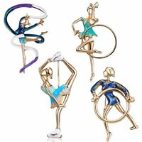 Cute Enamel Gymnastics Girl Brooch Pin Badge Women Jewelry Gift Banquet Party