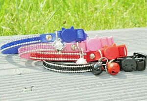 Cat Collar Diamante Cluster Male Female Safety Clip Bell Felt Pink Blue Red UK