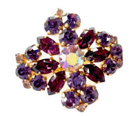 VINTAGE GOLD TONE Plated PURPLE AMETHYST PASTE AURORA BOREALIS BROOCH Gift Boxed