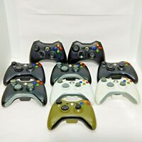 9 Official Xbox 360 Controllers - Parts Lot - 2 White 1 Green 6 Black Wireless