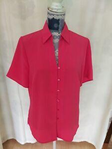 Marks&Spencer Top size 16  Shirt  Blouse  Short sleeve Collared Dark Pink