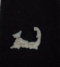Cape Cod Pewter Tie Bar Clip Pin Clasp with Chain Tie Tack USA Mass Souvenir MA