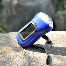 3 LED Hand Crank Dynamo Solar Powered Flashlight Torch Outdoor Portable