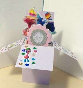 Birthday Trolls Young Girl Exploding Pop Up Box Card- Free Ship in USA
