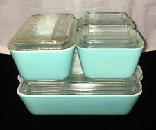 Pyrex TURQUOISE BLUE  *8 PC REFRIGERATOR SET* #2* OLD STYLE LIDS*