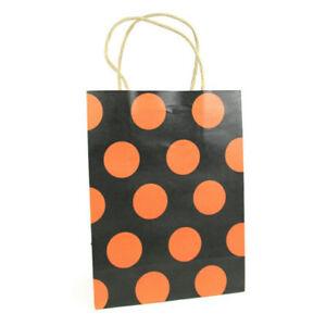 LDW 9 Black Orange Polka Dot Kraft Handle Paper Party Favor Wedding Gift Bags