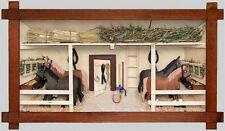 3D Holzbild Wandbild 44 x 24 cm Pferdestall, Handarbeit