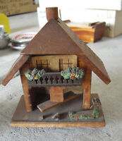 "Vintage Germany Wood House Wall Hanging  4 1/4"" Tall  LOOK"